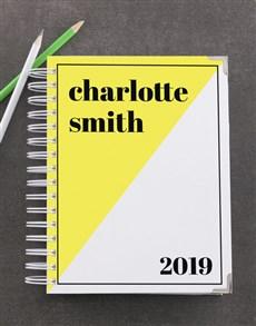 gifts: Personalised Yellow Diagonal Goal Journal!
