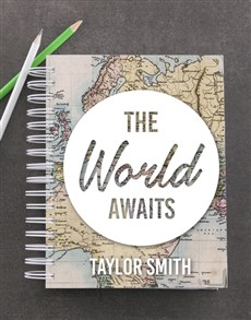 gifts: Personalised World Awaits Goal Journal!