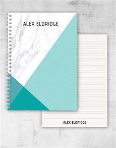 gifts: Personalised Diagonal Marble Notebook!