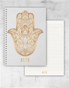 gifts: Personalised Hamsa Hand Notebook!