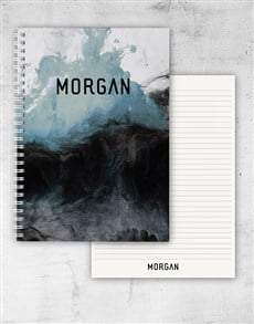 gifts: Personalised Blue And Black Ink Notebook!