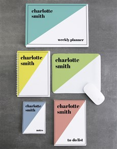 gifts: Personalised Colourful Diagonal Noteset!