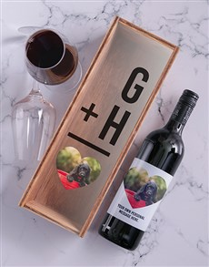 gifts: Personalised Photo Heart Red Wine and Crate!