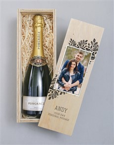 gifts: Personalised Photo Upload Wooden Champagne Crate!