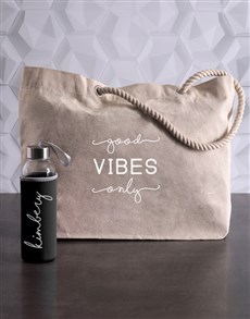 gifts: Personalised Good Vibes Waterbottle and Tote!