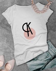 gifts: Personalised Pink Circle Initial Ladies T Shirt !