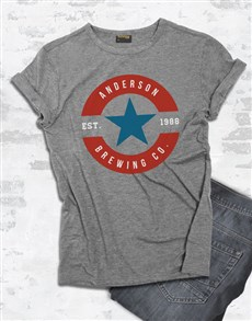 gifts: Personalised Blue And Red Brewing T Shirt !