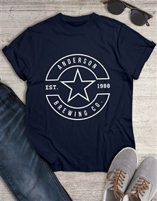 gifts: Personalised Navy Brewing T Shirt !