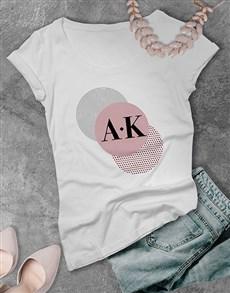 gifts: Personalised Trio Circle Initial Ladies T Shirt !