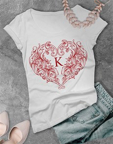 gifts: Personalised Valentines Heart Ladies T Shirt!
