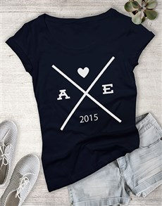gifts: Personalised Date and Initial Ladies T Shirt!