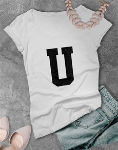 gifts: Personalised Glitter Initial Ladies T Shirt !