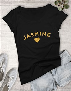 gifts: Personalised Gold Name With Heart Ladies T Shirt !