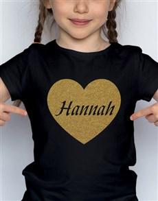 gifts: Personalised Glitter Heart Kids T Shirt!