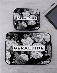 gifts: Personalised Black Rose Tablet or Laptop Sleeve!
