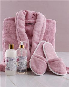 gifts: Personalised Floral Pink Fleece Gown Gift Set!