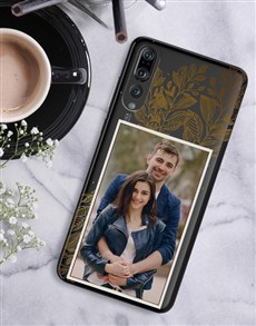 gifts: Personalised Floral Gold Photo Huawei Cover!