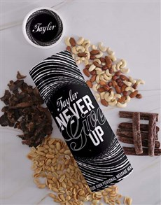gifts: Personalised Never Give Up Biltong and Nut Tube!