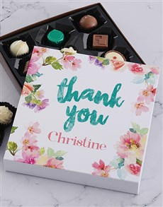 gifts: Personalised Floral Thank You Chocolate Tray!