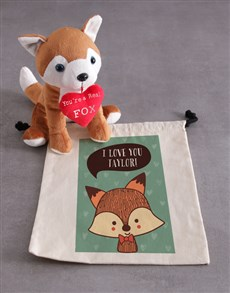 gifts: Personalised Fox And Drawstring Hamper!