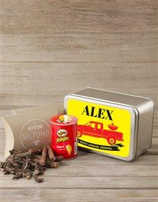 gifts: Personalised Biltong & Pringles Tin!