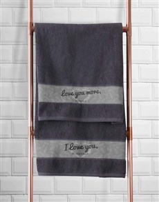 gifts: Personalised Love You Charcoal Towel Set!