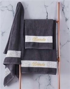 gifts: Personalised Leaf Foilage Charcoal Towel Set!