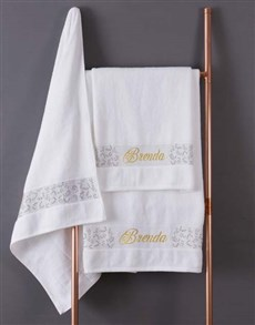 gifts: Personalised Leaf Foilage White Towel Set!