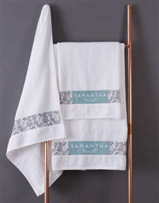 gifts: Personalised Protea White Towel Set!