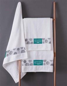 gifts: Personalised Circles White Towel Set!