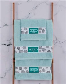 gifts: Personalised Circles Duck Egg Towel Set!