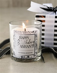 gifts: Happy Birthday Monochrome Personalised Candle!