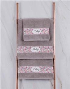 gifts: Personalised Floral Natural Towel Set!