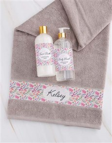 gifts: Personalised Floral Stone Towel Set!