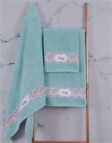 gifts: Personalised Floral Duck Egg Towel Set!