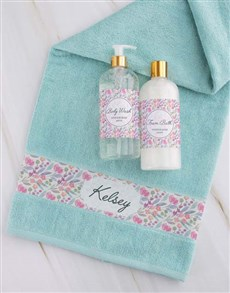 gifts: Personalised Floral Duck Egg Towel Gift Set!