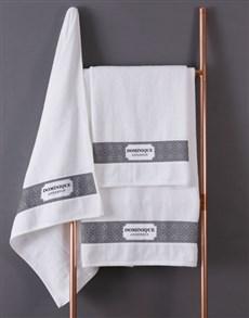 gifts: Personalised Damask White Towel Set!