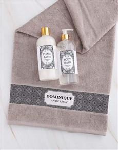 gifts: Personalised Damask Natural Towel Gift Set!