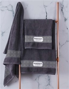 gifts: Personalised Damask Style Charcoal Towel Set!