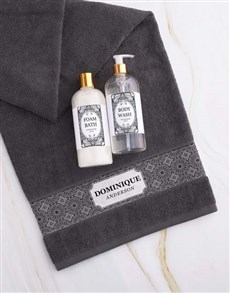 gifts: Personalised Damask Charcoal Towel Gift Set!