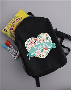 gifts: Personalised Floral Heart Girls Backpack!