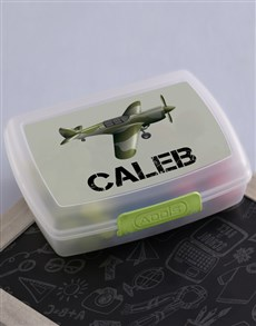 gifts: Personalised Fighter Plane Boys Lunch Box!