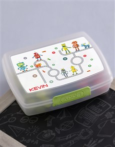 gifts: Personalised Robot Boys Lunch Box!