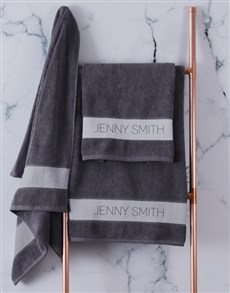 gifts: Personalised Modern Name Charcoal Towel set!