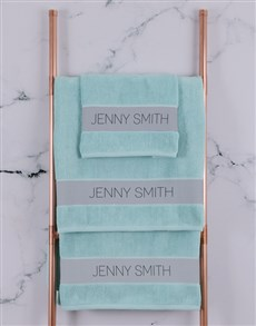 gifts: Personalised Modern Name Duck Egg Towel Set!