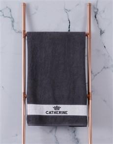 gifts: Personalised Royal Charcoal Towel Set!