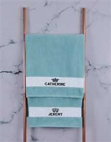 gifts: Personalised Royal Duck Egg Towel Set!
