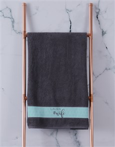 gifts: Personalised Husband and Wife Charcoal Towel Set!