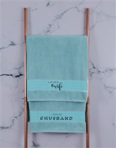 gifts: Personalised Husband and Wife Duck Egg Towel Set!