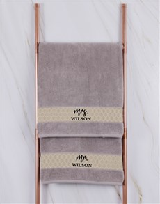 gifts: Personalised Mr and Mrs Stone Towel Set!
